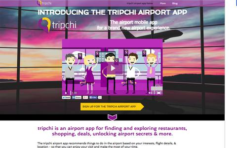 Screenshot of Home Page tripchi.com - tripchi - the airport app for an experiential airport - captured Oct. 8, 2014