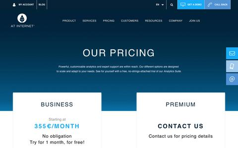 Screenshot of Pricing Page atinternet.com - Pricing for AT Internet's Analytics Suite - captured Sept. 22, 2019