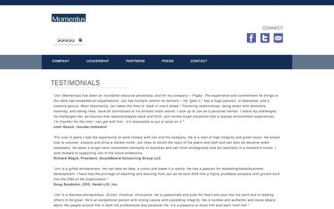 Screenshot of Testimonials Page momentusventures.com - Momentus Ventures - captured Sept. 30, 2014