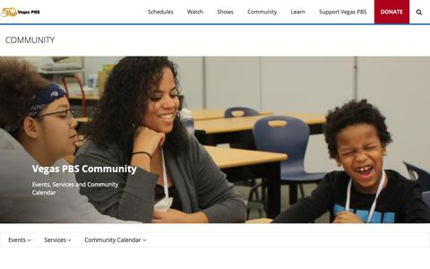 Screenshot of Services Page vegaspbs.org - Community - captured Oct. 20, 2018