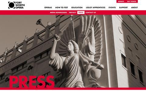 Screenshot of Press Page fwopera.org - Fort Worth Opera Press - captured Feb. 10, 2016