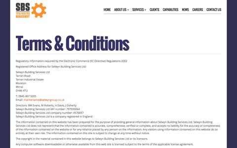 Screenshot of Terms Page selwyn-sbs.co.uk - Terms & Conditions | Selwyns SBS - captured April 9, 2016