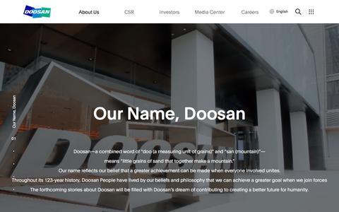 Screenshot of About Page doosan.com - Doosan Story : Doosan Group | Doosan Corporation - captured Sept. 19, 2019