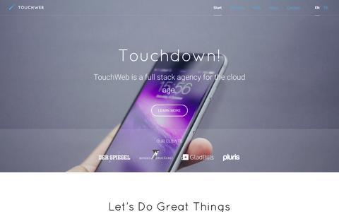 Screenshot of Home Page touchwebag.com - TouchWeb AG - captured Aug. 15, 2015