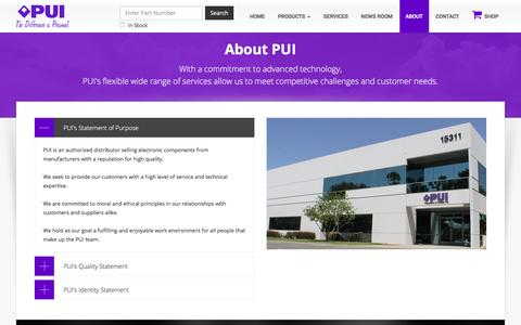 Screenshot of About Page gopui.com - PUI Corporate Info - captured Jan. 24, 2016