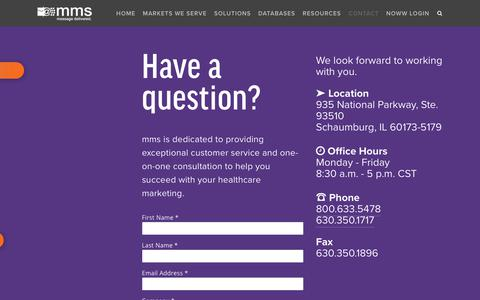 Screenshot of Contact Page mmslists.com - Contact - captured July 14, 2019