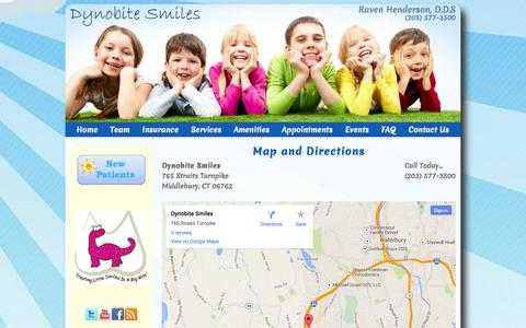 Screenshot of Maps & Directions Page dynobitesmiles.com - Directions: Pediatric Dentist Middlebury CT Children's Dentistry Dynobite Smiles Pediatric Dentistry - captured Oct. 5, 2014
