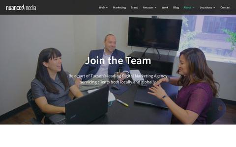 Screenshot of Jobs Page nuancedmedia.com - Digital Agency Careers | Nuanced Media - captured June 22, 2019