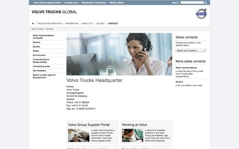 Screenshot of Contact Page volvotrucks.com - Contact - Contact : Volvo Trucks - captured Oct. 26, 2014