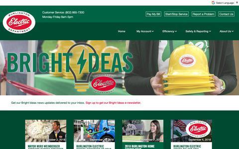Screenshot of Press Page burlingtonelectric.com - Bright Ideas | News | Burlington Electric Department - captured Oct. 7, 2018