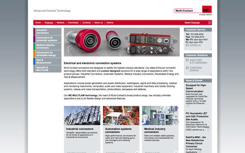 Screenshot of Products Page multi-contact-usa.com - Products - Electrical connectors for any industry - captured March 8, 2016