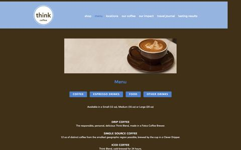 Screenshot of Menu Page thinkcoffee.com - menu — Think Coffee - captured Nov. 5, 2014