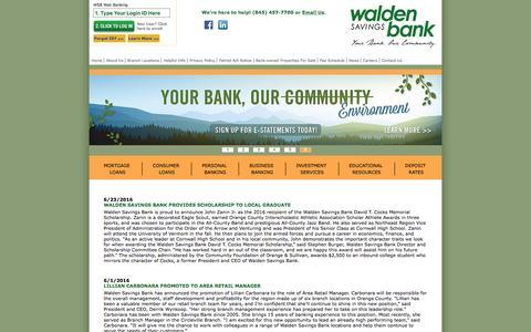 Screenshot of Press Page waldensavingsbank.com - News   Keep Informed with Walden Savings Bank - captured July 5, 2016