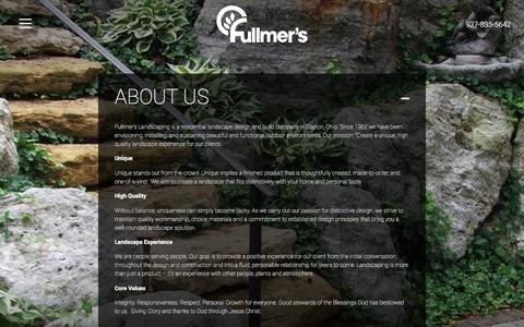 Screenshot of About Page fullmers.com - About Us | Fullmers Landscaping - captured Feb. 10, 2016