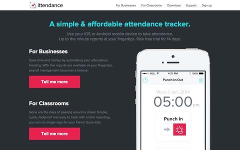 Screenshot of Home Page ittendance.com - Mobile Attendance Application | Attendance Tracking App – ittendance - captured July 15, 2015