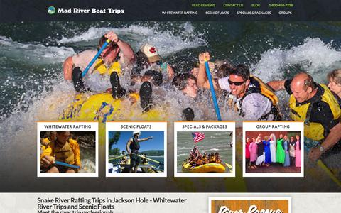 Screenshot of Home Page mad-river.com - Guided River Trips in Jackson Hole, Wyoming - Snake River Rafting Whitewater Trips and Scenic Floats - captured Jan. 14, 2016