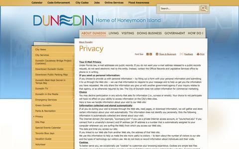Screenshot of Privacy Page dunedingov.com - City of Dunedin, FL : Privacy - captured Nov. 6, 2016