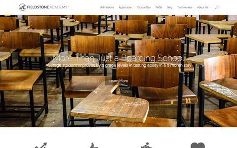 Screenshot of Home Page fieldstoneacademy.org - Fieldstone Academy Boarding School | More Than Just A Boarding School - captured Jan. 21, 2015