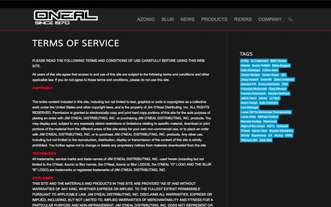 Screenshot of Terms Page oneal.com - O'Neal   Terms of Service - captured Jan. 17, 2016