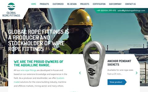 Screenshot of Home Page globalropefittings.com - Global Rope Fittings   AqualLine   Producer of steel wire rope fittings - captured Nov. 10, 2018