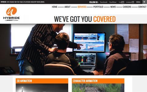 Screenshot of Services Page hybride.com - Services   HYBRIDE   VFX Studio   A UBISOFT Division - captured Oct. 3, 2014