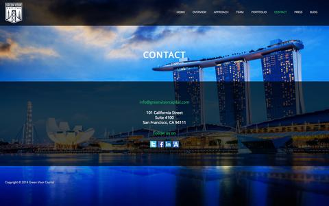 Screenshot of Contact Page greenvisorcapital.com - Contact | Green Visor Capital - captured Oct. 3, 2014