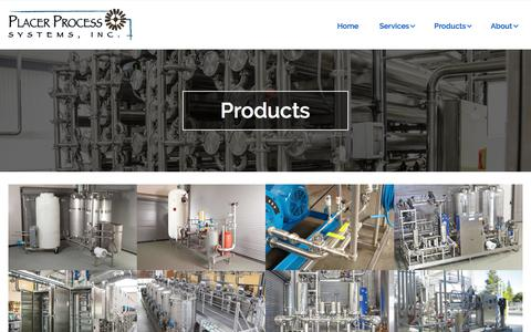 Screenshot of Products Page placerprocesssystems.com - Placer Process Systems | Design, Build and Install Products - captured July 19, 2018