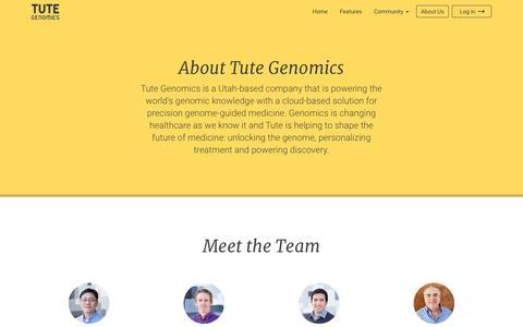 Screenshot of About Page tutegenomics.com - About | Tute Genomics - captured Dec. 4, 2015