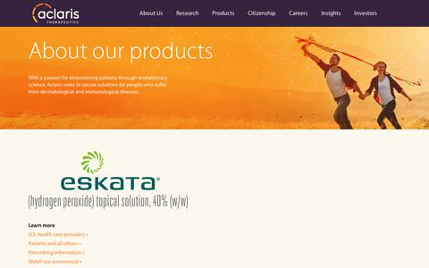 Screenshot of Products Page aclaristx.com - Products | Aclaris Therapeutics Inc. - captured Nov. 17, 2018