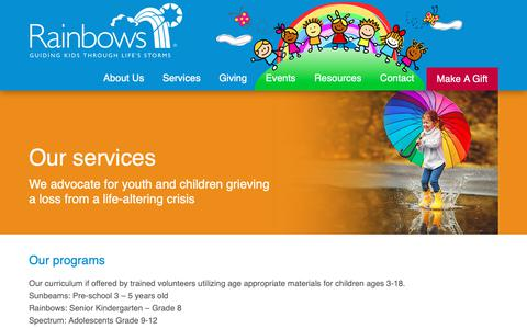 Screenshot of Services Page rainbows.ca - Services - Grief Support, Youth Support Programs, Helping Children With Loss - captured Oct. 19, 2018