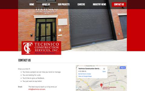 Screenshot of Contact Page technico-csi.com - Technico Construction Services, Inc. | Contact Us - captured Oct. 26, 2014