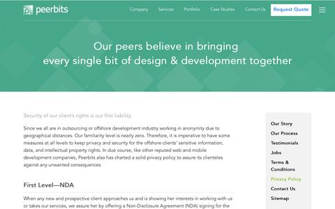 Screenshot of Privacy Page peerbits.com - Privacy Policy : Web design | Web development | Mobile development services company India : Peerbits - captured Jan. 26, 2016