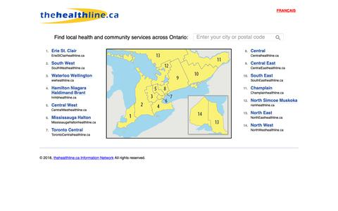 Screenshot of Home Page thehealthline.ca - Health Services for Ontario - thehealthline.ca - captured Nov. 22, 2018