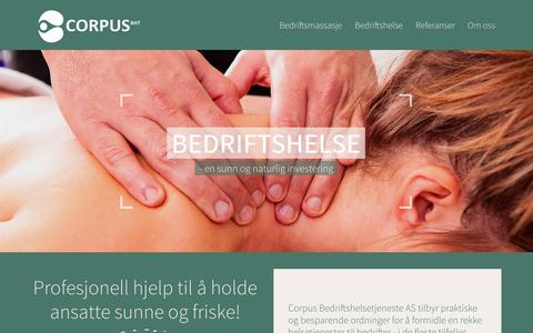 Screenshot of Home Page corpus-bht.no - Corpus Bedriftshelsetjeneste AS - Helsetilbud for dine ansatte! - captured Oct. 3, 2014