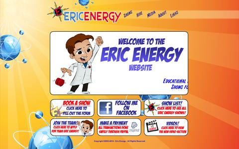 Screenshot of Home Page ericenergy.com - Eric Energy - Making Learning Fun! - captured Sept. 30, 2014