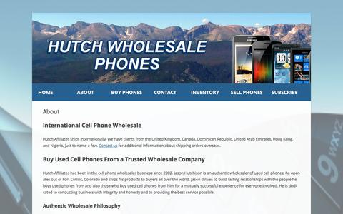Screenshot of About Page hutchwholesalephones.com - About - Hutch Wholesale Phones - captured Feb. 2, 2016