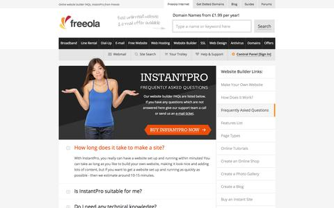 Screenshot of FAQ Page freeola.com - Online website builder FAQs, InstantPro from Freeola - captured Nov. 22, 2017