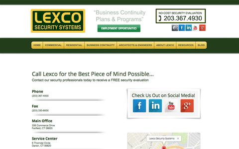 Screenshot of Contact Page Locations Page lexcosecurity.com - Contact Lexco - captured Aug. 4, 2017