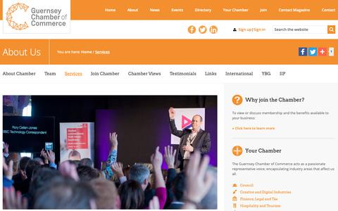 Screenshot of Services Page guernseychamber.com - Services | Guernsey Chamber of Commerce - captured Sept. 30, 2018