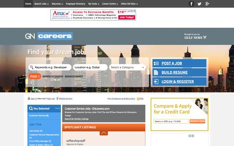 Screenshot of Support Page gncareers.com - Browse Customer Service - Jobs | GNcareers.com - captured July 17, 2015