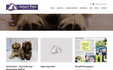 Screenshot of Press Page selectpets.com.au - News - Selects Pets - captured Oct. 19, 2018