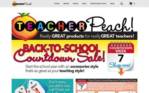 Screenshot of Home Page teacherpeach.com - Teacher Classroom Supplies | Organizers & Appreciation Gifts - captured Aug. 12, 2015
