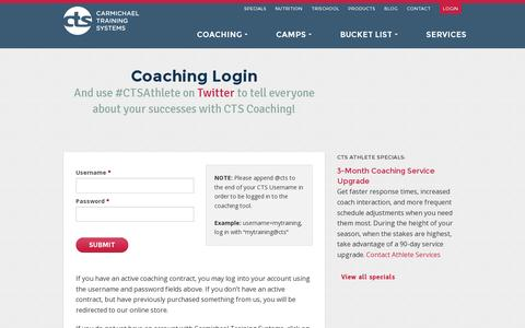 Screenshot of Login Page trainright.com - Coaching Login - CTS - captured July 19, 2014
