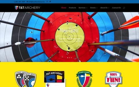 Screenshot of Home Page tandtarchery.com - T&T Archery - Sherwood Park, Alberta | T&T Archery is an archery shooting range selling products and services for Archers in Sherwood Park and the Edmonton Area. - captured Dec. 2, 2015
