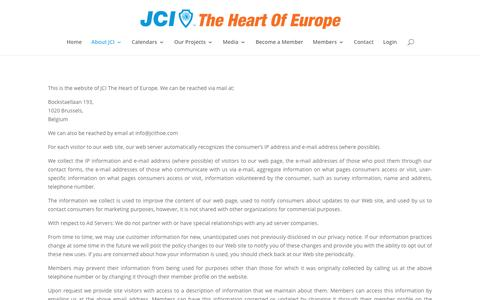 Screenshot of Privacy Page jcithoe.com - Privacy Policy - JCI The Heart Of Europe - captured Oct. 1, 2018
