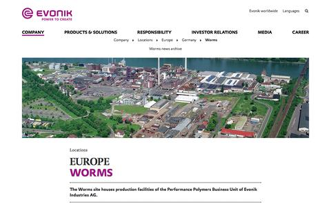 Evonik Industries - Specialty chemicals - Site Worms, Germany - Evonik Industries AG