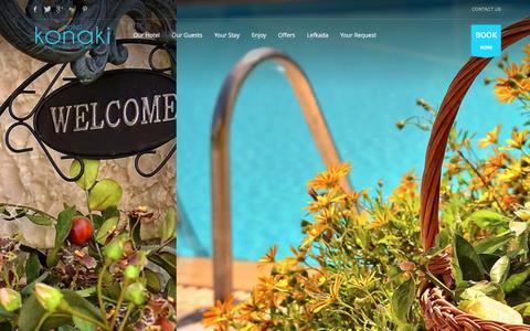 Screenshot of Home Page hotelkonaki.com - Hotel Konaki - Lefkada Island, Greece - captured Dec. 6, 2015