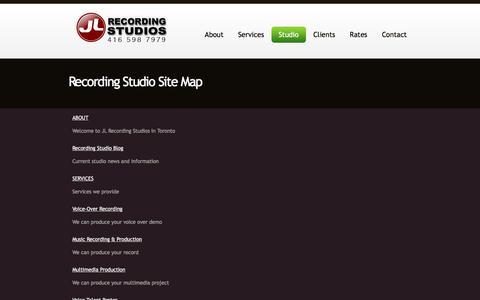 Screenshot of Site Map Page jlstudios.ca - JL Recording Studios: Sitemap | Toronto Recording Studio - captured Oct. 4, 2017