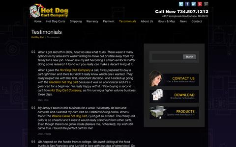 Screenshot of Testimonials Page hotdogcartcompany.com - Hot Dog Cart Owner Testimonails | Start Hot Dog Business - captured Sept. 30, 2014