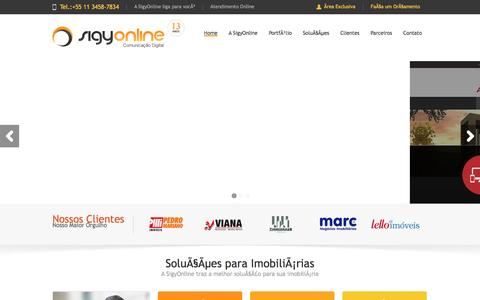Screenshot of Home Page sigyonline.com.br - Sigy Online - Criação de Sites, Otimização de Sites, Sites para Imobiliárias, websites para Imobiliárias - captured April 19, 2016